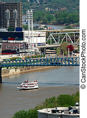 Ohio River Cincinnati USA - Aerial view of the many colorful...