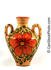 Ceramic pot with paint - Ceramic pot with flower painting...