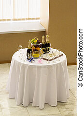 Buffet table - The buffet table expects newly married pair...