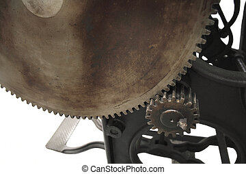 printing press gears 2 - a large gear and a small on an 1888...