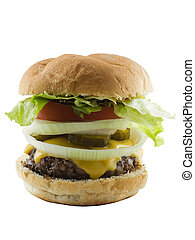 Burger - Large cheeseburger isolated on a white background