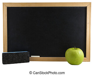 Education - Chalkboard, apple, and eraser isolated on white...