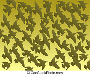 Flock - Illustrated background of a flock of birds