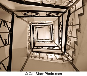 Old Winding Stairwell - -- a rectangular spiraling staircase...