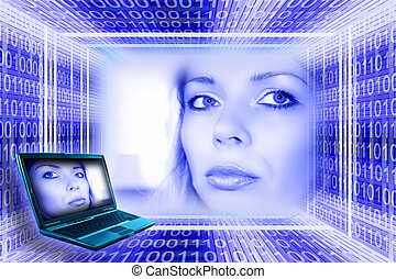 Information technology concept. A luminous girl, digital...