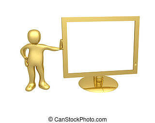 Guy with computer monitor - A 3d person next to a computer...