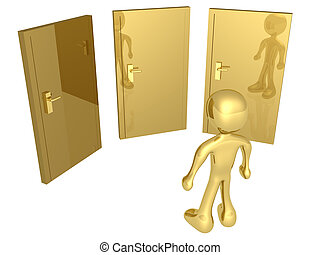 Options - 3d person in front of three doors.