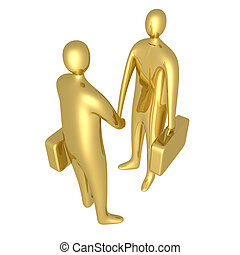 Business Deal - Two 3d businessmen shaking hands.