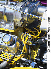 Street Rod - Engine detail of a customized street rod at the...