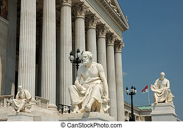 Greek Philosophers - Statues of Greek Philosophers in Front...