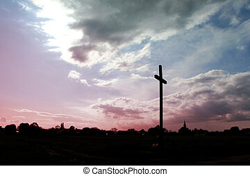 Field cross - Wooden  catholic cross   on a sky background