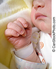 newborn baby - delicate features of a one day old baby...