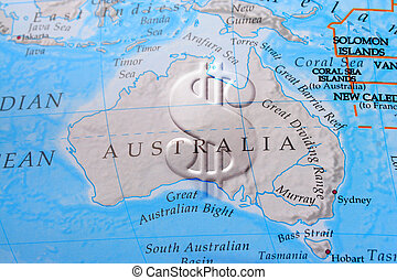 Australia economy - Dollar sign across Australia depicting...
