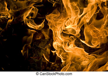 fire - Close up of an campfire at night glowing flames