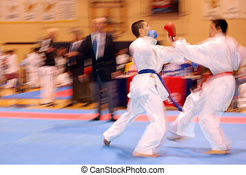 karate combat - Attack and defense in karate combat