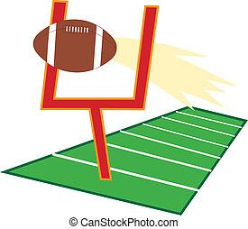Football Field - Football going through a goalpost on a...