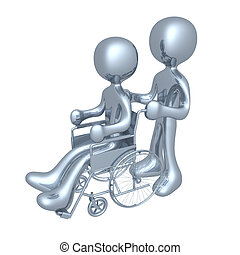 Person on a wheelchair - Person helping another person on a...