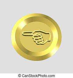 hand icon - 3d hand icon - computer generated clip-art