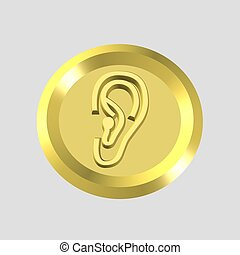 gold hearing icon