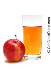Apple juice - Red apples and apple juice on a white...