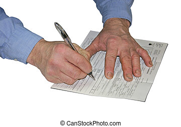 Wedding License - a mans hands signing a marriage license