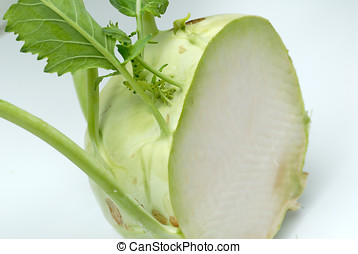 Kohlrabi half - Macro of kohlrabi sliced on white