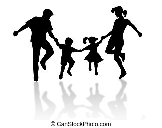 Jumping family silhouette against a white background