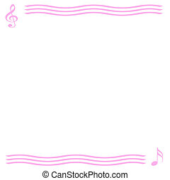 musical note - abstract music notes border on white...