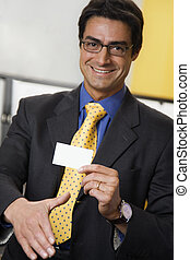 businesscard - work place: successful businessman smiling...