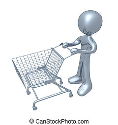 Shopping Cart - 3d person with a shopping cart.