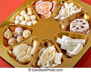 Chinese New Year Candy - Some Chinese New Year candy on a...