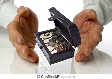 plant - business men holding a treasure box between hands on...