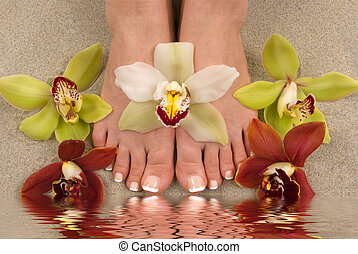Orchids and Feet - Feet with beautiful fresh orchids