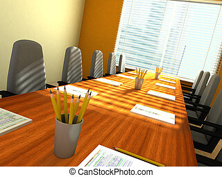 Conference room - 3D rendering of an empty meeting room
