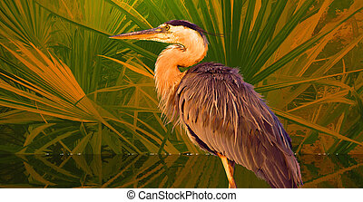 Great Blue Heron - An original 12.5x24 painting of a Great...