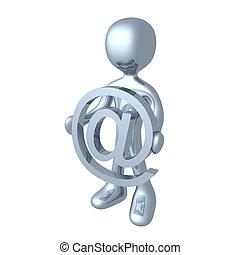 At Symbol. - 3d character holding an at symbol.