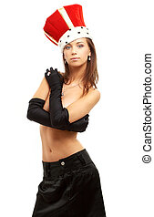 girl in black gloves and red crown - topless girl in black...