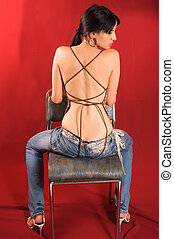 Back girl - View of beautiful model woman from back