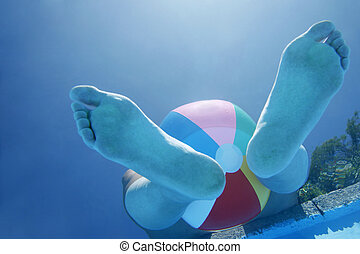 Underwater Feet - Woman\\\'s feet and beach ball viewed from...