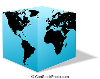 Square Earth Globe, Box map of America, Europe, Africa - A...
