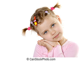 Pretty child look in to camera. Isolate on white