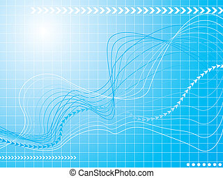 graphical wave - Abstract financial graphical wave in blue...