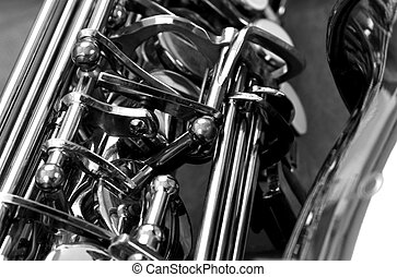 casual sax B&W - Black and white shot of an alto sax showing...