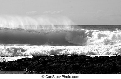 breaking waves B and w - black and white shot of large...