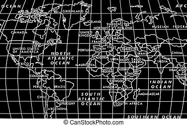 World Map - Blakc and White image of the world with lat/long...