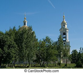orthodox temple - Domes of orthodox temple with blue sky at...