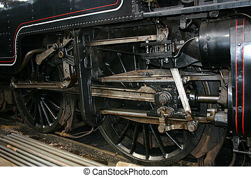 steam train wheel detail - detail of the wheels and pistons...