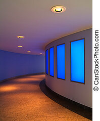 modern interior with blue lightwall