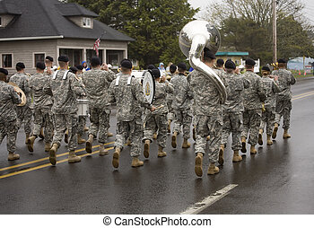 Military Band Marching on a Foggy Day - Miliitary Band...