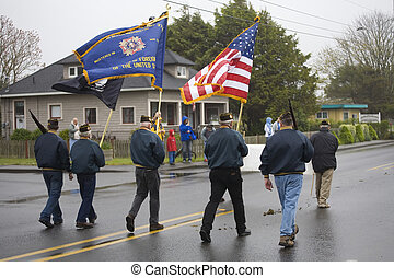 VFW Color Guard Marching on a Foggy Day - VFW Color Guard...